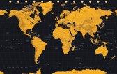 Wereldkaart - poster - goudkleur - 61 x 91.5 cm