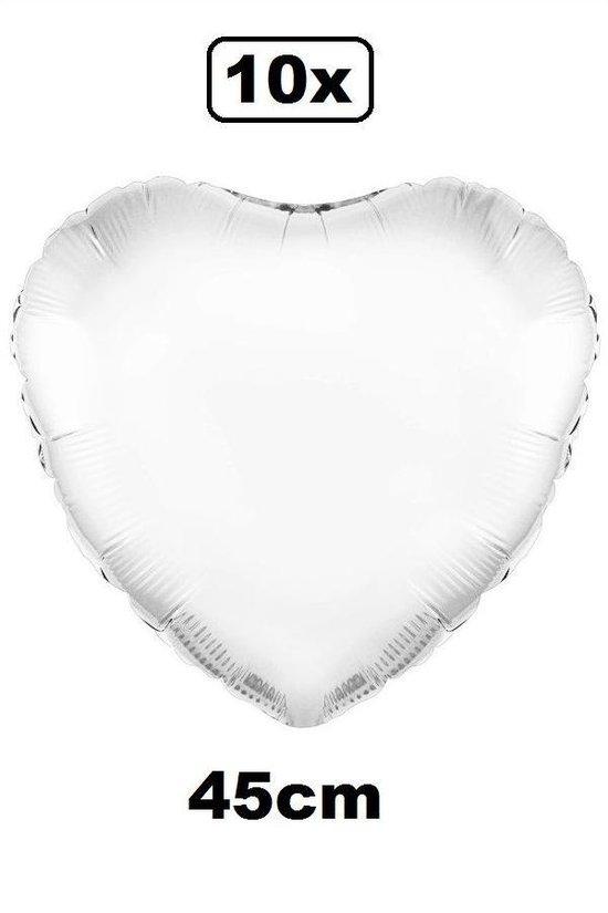 10x Folie ballon Hart 45 cm wit