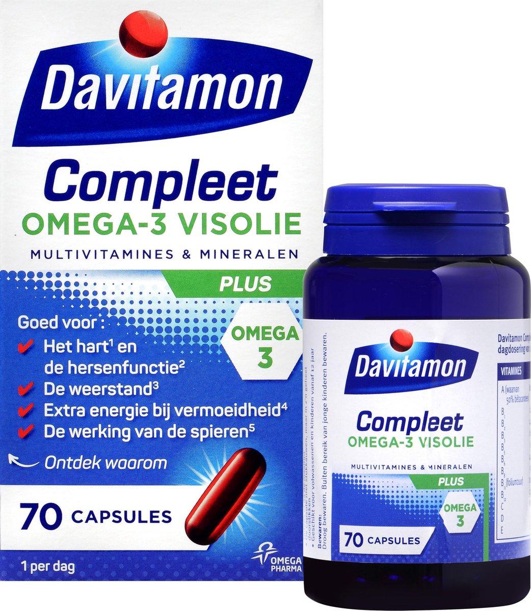 Davitamon Compleet + Omega 3 Visolie - Multivitamine - Voedingssupplement - 70 Capsules