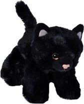 Pluche zwarte kat/poes knuffel 18 cm