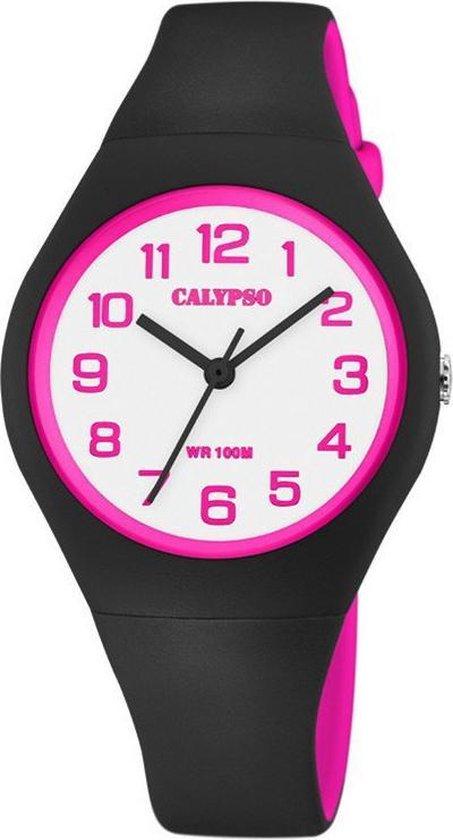 Calypso K5777/8 analoog horloge 34 mm 100 meter zwart/ roze
