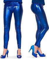 Legging - Metallic Blauw - Maat L/XL