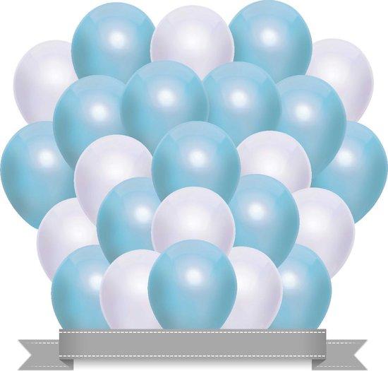Ballonnen Set Metallic Baby Blauw / Wit (20ST)