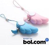 2 stuks set! Veiligheids Sleutelhanger Engelen vleugels bescherming Persoonlijk paniek alarm , hoge toon self defence alarm - Rose & Blauw