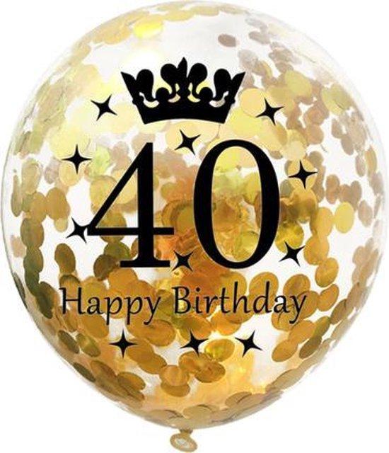 40 Jaar Ballonnen Set - Confetti - 5 stuks - Verjaardag Feest - Versiering - Goud - 30cm