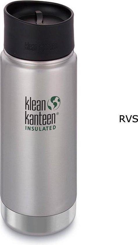 Klean Kanteen Wide Vacuum Insulated Drinkfles 473ml met Café Cap 2.0 grijs