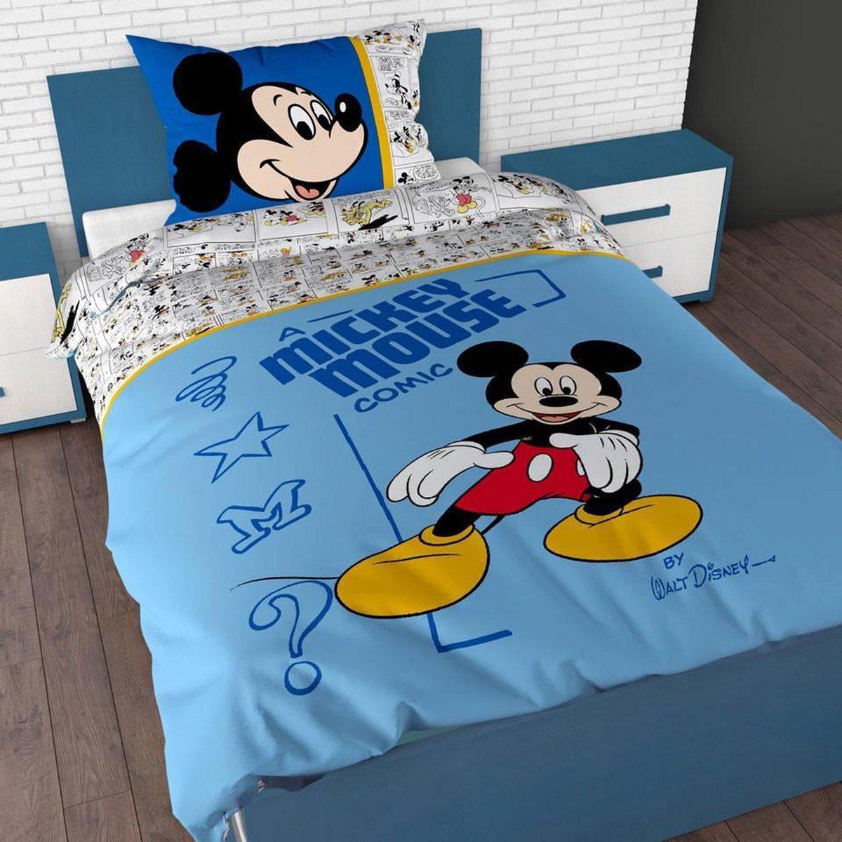 Disney Mickey Mouse Dekbedovertrek - Eenpersoons - 140 x 200 cm - Blauw kopen