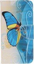 Samsung Galaxy A40 Hoesje - Book Case - Blauwe Vlinder