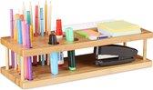 relaxdays pennenbakje 25 pennen - pennenhouder - bureau organizer bamboe - kantoor - hout