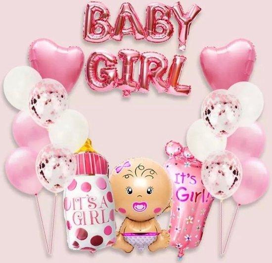 Babyshower Versiering Pakket - 19 stuks - Luxe Baby Shower Folie Balonnen Set - Baby Girl Helium Ballon - Geboorte Feest Cadeau Meisje