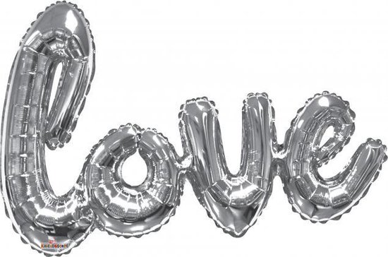 Folie ballon xl zilver 91,4 cm love