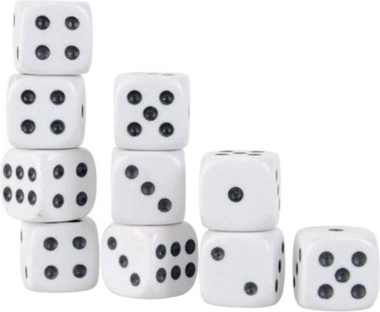 Afbeelding van het spel 10 witte dobbelstenen Set - Do-bbelsteen - Dobbelen - Dobbelstenenset Wit - Yahtzee - Bordspel - Gezelschapsspel - Spellen