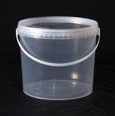 2,5 Liter - Transparante emmers met deksel (25 stuks)