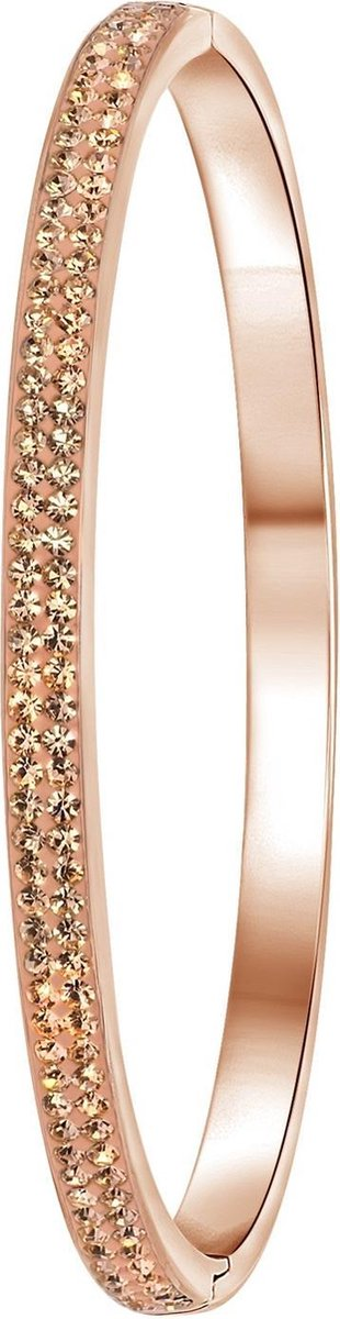 Colours by Kate - Stalen armband roseplated light peach kristal - Lucardi