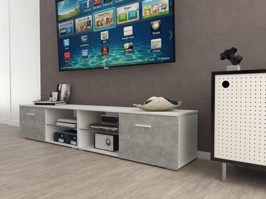 Design Tv Meubel Kast.Bol Com Az Home Tv Kast Tv Meubel Denver Xl 220 Cm Wit