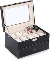 Aretica Luxe horloge en sieraden box geschikt voor 20 horloges - Fluweel - Kunstleer - Zwart