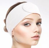 SIMIA™ Premium Verstelbaar Badstof Hoofdband - Haarband - Badstoffen Bandeau - Make Up - Schoonheidsspecialist - Professioneel en Thuisgebruik - 2 STUKS - Wit