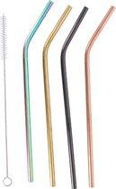 Rietjes herbruikbaar - Rietjes staal - Gekleurde rietjes - Duurzaam - 4 rietjes inclusief borstel