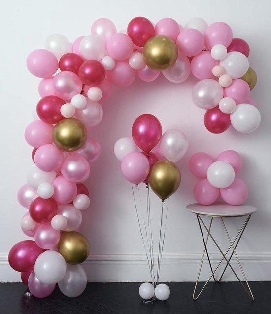 Luxe Ballonnen Boog Roze Goud Wit - 110 Stuks - Helium Ballonnenset Wedding Babyshower Verjaardag Party Decoratie Thema Feest Ballonnenboog Incl. Bevestiging!