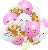 Luxe Ballonnenset Eenhoorn - Unicorn wit / roze / gouden confetti - 15 stuks