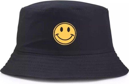 Bucket Hat Smiley Zwart Geel Smile Zonnehoedje Vissershoedje Emmer Hoedje Hoed Cap