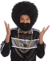 Zwarte ronde afro pruik met baard