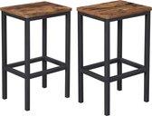 Set van 2 Barkrukken met Voetsteun - Industriële Keukenstoelen voor Keuken, Woonkamer - Vintage - Donkerbruin
