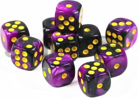 Thumbnail van een extra afbeelding van het spel 10x Mini dobbelsteen paars/zwart | Dobbelspel