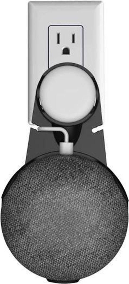 Houder Voor Google Home Nest Mini - Smart Speaker - Muur Beugel - Case Stopcontact Beugel - Zwart