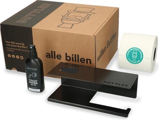 Buttler Giftset Wasstraat toiletrolhouder – zwart – Toiletpapier – WC papier - Toilet - Toiletbrilreiniger