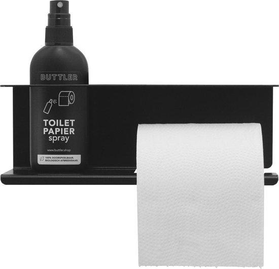 Buttler Toiletrolhouder Spray & Smartphone – zwart – Toiletpapier – WC papier - Toilet - Toiletbrilreiniger