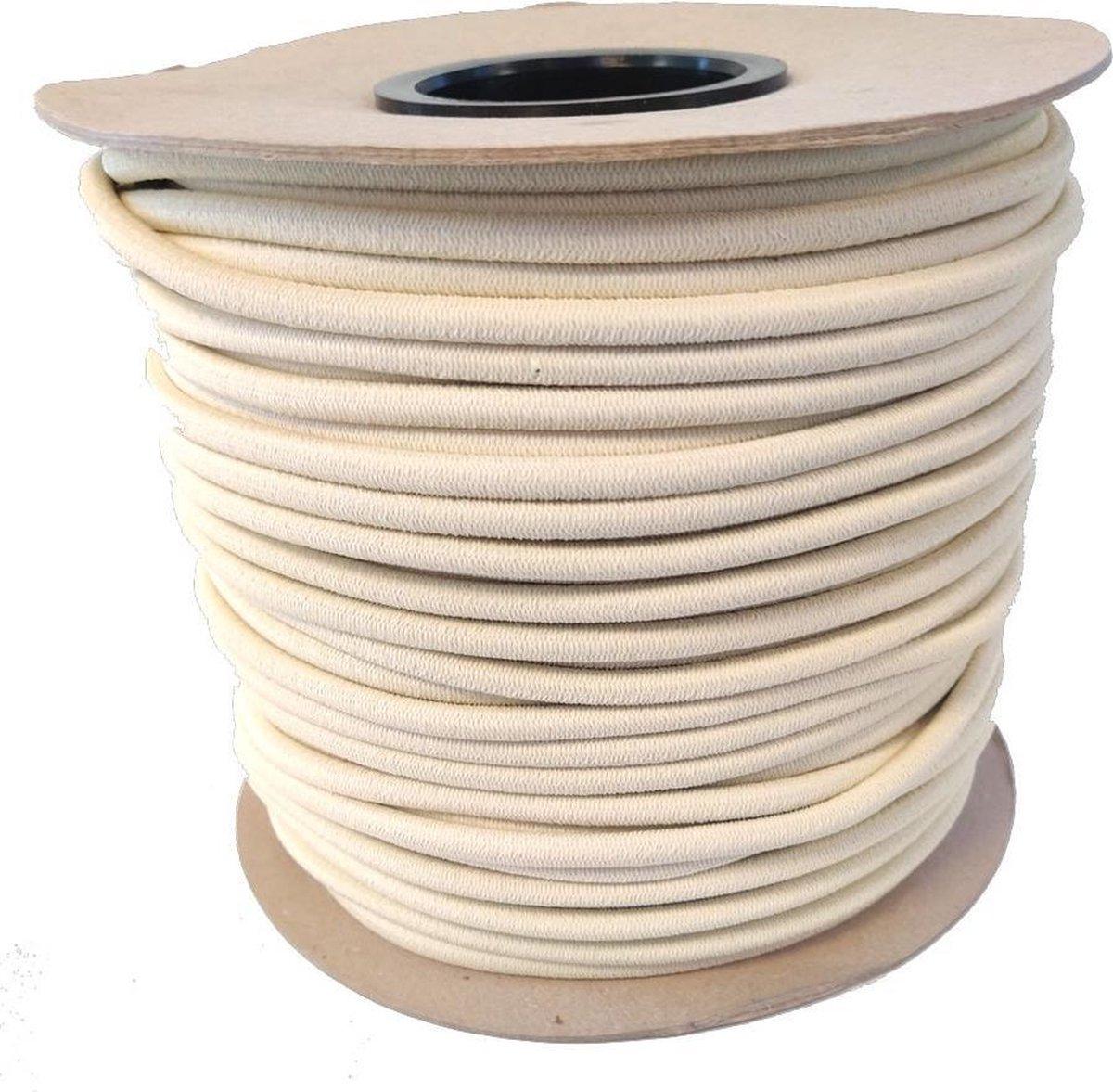 Elastisch Touw - zand - 8mm - elastiek per meter
