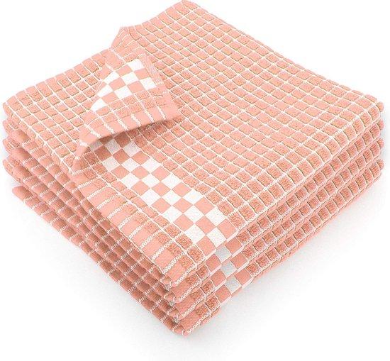 Fecido Classic Dark Kitchen Tea Towels - Absorbent 100% Cotton Long Lasting Durability European Made Tea Towels - Set of 4, Peach