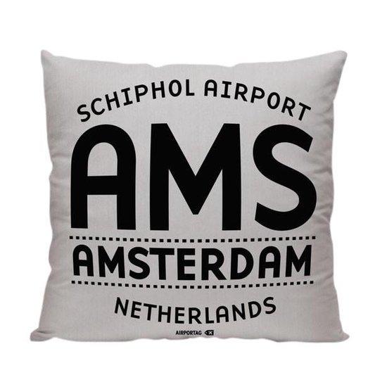 AMS Letters (Amsterdam) - Sierkussen - Kleur Grijs - 40 x 40 cm - Reizen / Vakantie - Reisliefhebbers - Voor op de bank/bed