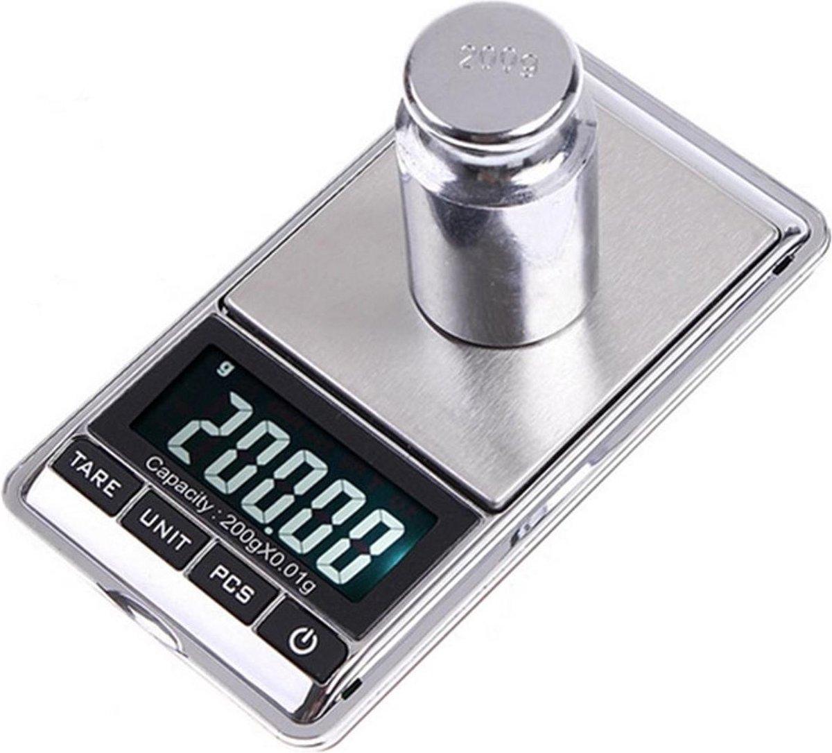 Professionele Digitale Mini Pocket Keuken Precisie Weegschaal - Op Batterij - 0,01 MG tot 200 Gram-