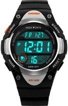 Kinderhorloge Chrono - Alarm – Digitaal Horloge – Zilver Look- Ø37mm