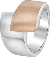 Lucardi - Stalen ring staal/roseplated