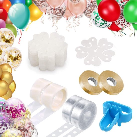 Fissaly® Ballonnen Accessoires Set met Ballonnenboog, Slinger & Lint, Stickers & Plakkers en Knoper