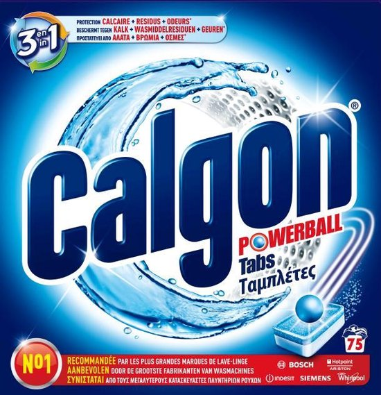 Calgon 3 in 1 Powerball Tabs Wasmachine Reiniger en Anti kalk - 75 Tabletten