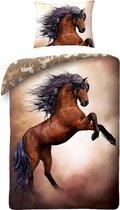 Dekbedovertrek Wild Paard - Eenpersoons - 140x200 cm - Bruin