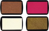 Stempelkussen Set van 4 Stuks - Cocoa, Fel Roze, Wit en Goud - 7 x 4,5cm