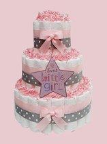 Luiertaart meisje - roze - met ster - 3 lagen - maat 3 - babydoekjes - geboortecadeau - babyshower - kraamcadeau