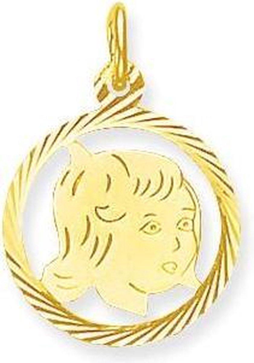 Glow kinderkopje meisje - goud 14 kt -15.5 x 15.5 mm - Glow