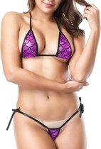 Spannende Micro Bikini Met String En Bikini Topje - Donker Roze 18+