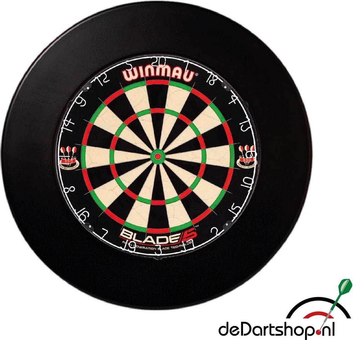 Winmau Blade 5 - Plus Surround Ring Zwart - Complete dartset