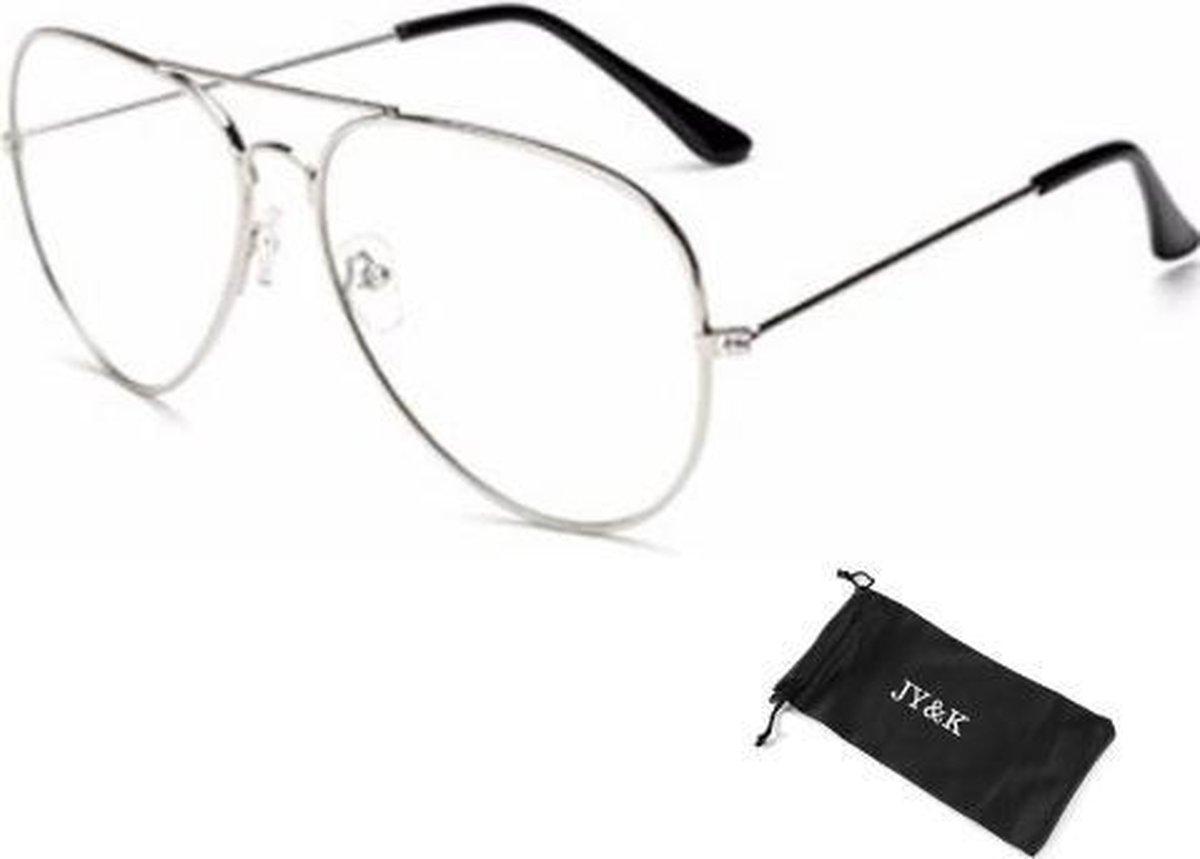 Bril zonder sterkte - Inclusief hoesje - Pilotenbril - Zilverkleurig