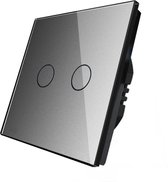 Slimme Inbouw Schakelaar - Wi-Fi en Touch Sensor - 2 Kanalen - Grijs Gehard Kristalglas - Smarthome light switch - Verbinding met telefoon via verschillende Apps
