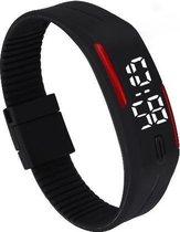 LED Horloge -  Tieners - Horloge - Rubber - 20 mm – Zwart/ Rood – geschikt vanaf 12 jaar - I-deLuxe verpakking