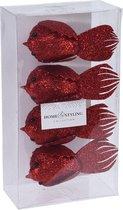 4x Kersthangers op clip glitter vogel rood 17 cm - Kerstboom decoratie - Rode kerstversieringen