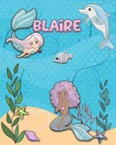 Handwriting Practice 120 Page Mermaid Pals Book Blaire